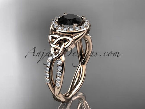 14kt rose gold diamond celtic trinity knot wedding ring, engagement ring with a Black Diamond center stone CT7127