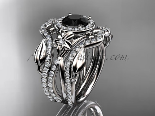 14kt white gold diamond leaf and vine, flower engagement ring, wedding ring,  with  Black Diamond center stone and double matching band ADLR89S