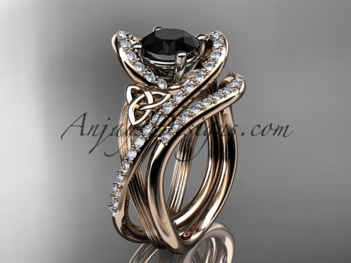14kt rose gold diamond celtic trinity knot wedding ring, engagement set with a Black Diamond center stone CT7369S