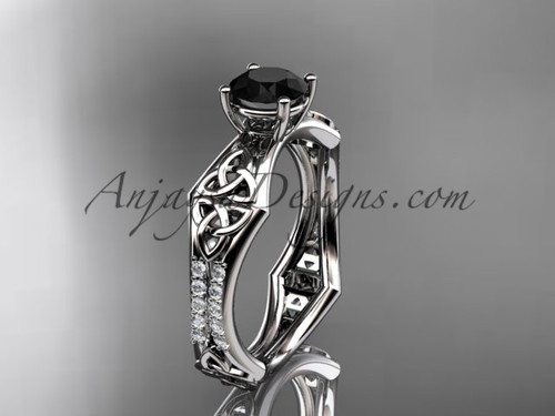 platinum diamond celtic trinity ring,  triquetra ring, engagement  ring with a  Black Diamond center stone CT7353