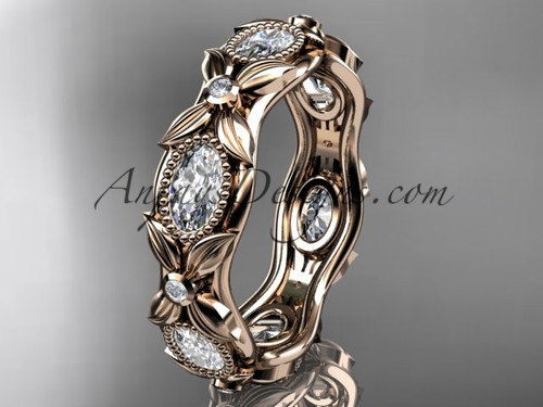 14kt rose gold diamond leaf and vine wedding band,engagement ring ADLR152B Nature inspired jewelry