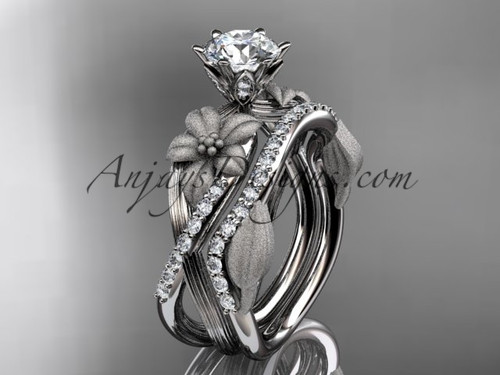"""Unique 14kt white gold diamond flower, leaf and vine wedding ring, engagement set with a """"Forever One"""" Moissanite center stone ADLR221S"""