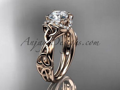 14kt rose gold diamond celtic trinity knot wedding ring, engagement ring CT7289