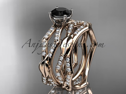 14k rose gold diamond leaf and vine wedding ring, engagement set with a  Black Diamond center stone ADLR353S