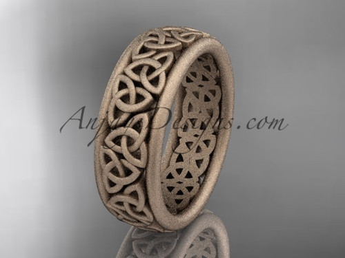 14kt rose gold celtic trinity knot wedding band, matte finish wedding band, engagement  ring CT7163G