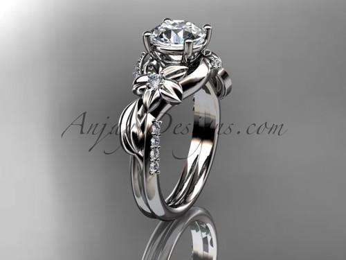 Artisan Wedding Ring, Platinum Flower and Leaf Moissanite Engagement Ring ADLR224