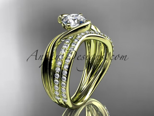 """14kt yellow gold diamond leaf and vine wedding ring, engagement set with a """"Forever One"""" Moissanite center stone ADLR78S"""