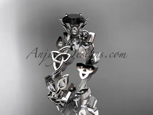 platinum diamond celtic trinity knot wedding ring, engagement ring with a Black Diamond center stoneCT7209