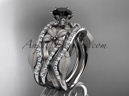 Unique 14kt white gold diamond flower, leaf and vine wedding ring, engagement ring with a Black Diamond center stone and double matching band ADLR221S
