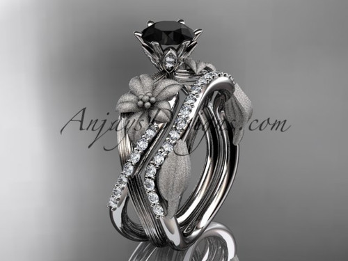Unique platinum diamond flower, leaf and vine wedding ring, engagement set with a Black Diamond center stone ADLR221S