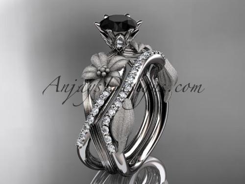 Unique platinum diamond flower, leaf and vine wedding ring, engagement set with a Black Diamond center stone ADLR221S