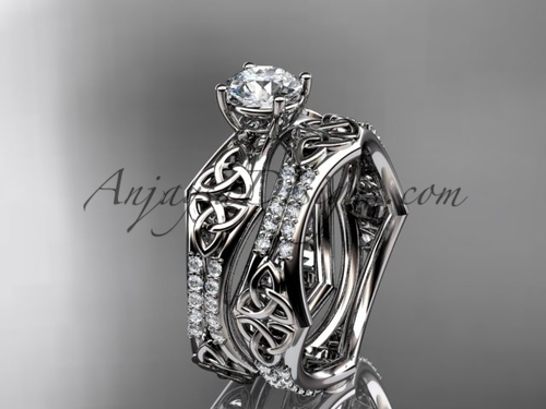 platinum diamond celtic trinity ring,  triquetra ring, engagement  set, CT7353S