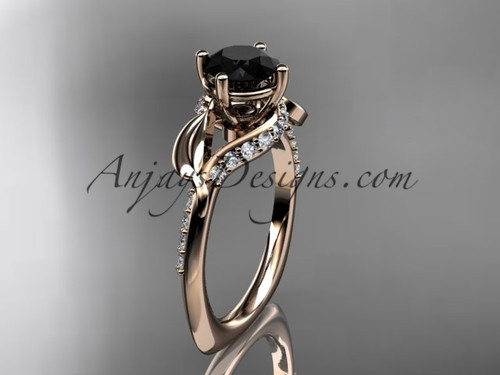 Unique 14k rose gold diamond leaf and vine wedding ring, engagement ring with a Black Diamond center stone ADLR225