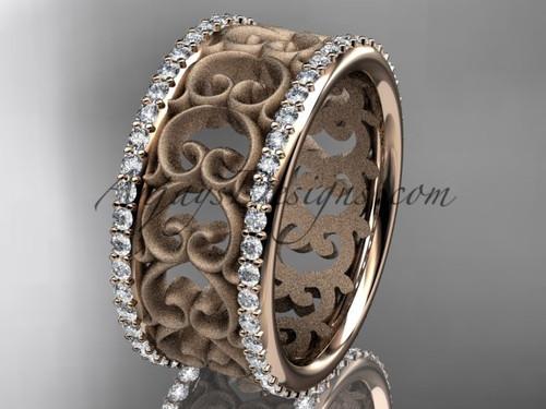 14kt rose gold diamond engagement ring, wedding band ADLR423B 1