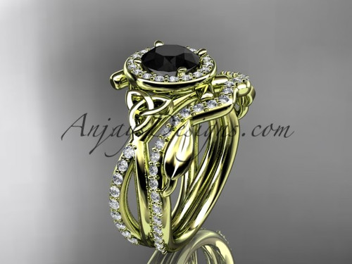 14kt yellow gold celtic trinity knot engagement set, wedding ring with a Black Diamond center stone CT789S