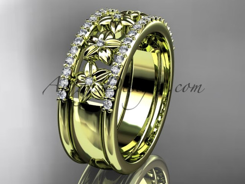 14kt yellow gold engagement ring, flower wedding band ADLR516B