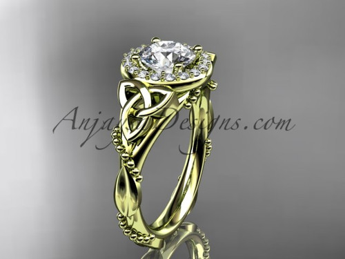 """14kt yellow gold diamond celtic trinity knot wedding ring, engagement ring with a """"Forever One"""" Moissanite center stoneCT7328"""