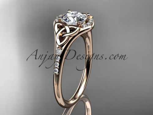 "14kt rose gold diamond celtic trinity knot wedding ring, engagement ring with a ""Forever One"" Moissanite center stone CT7126"