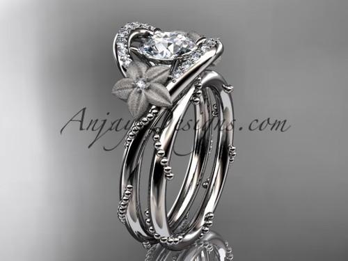 Flower Inspired Wedding Rings, Platinum Bridal set ADLR166S