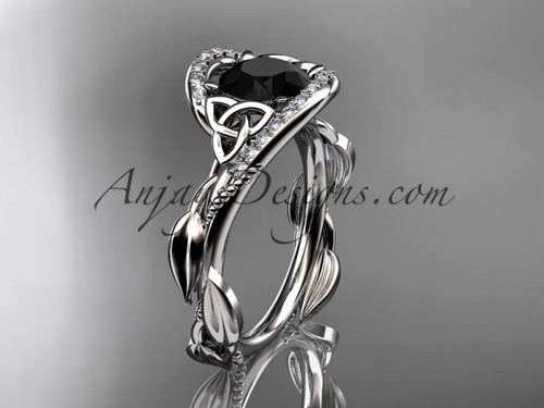 Scottish Celtic Wedding Ring White Gold Black Diamond CT764
