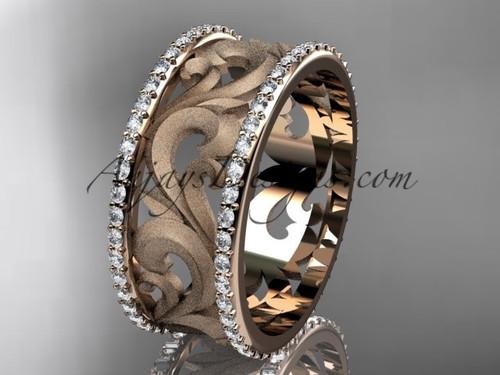 14kt rose gold diamond engagement ring, wedding band ADLR121BD