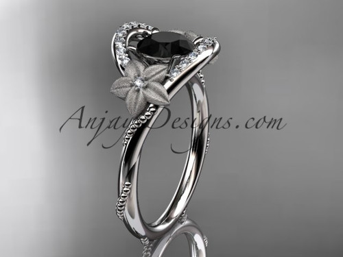 Black Diamond Ring for Women, White Gold Flower Ring ADLR166