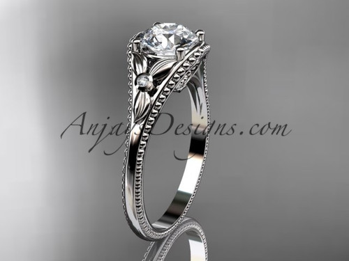 14k White Gold Flower Antique Engagement Rings ADLR377