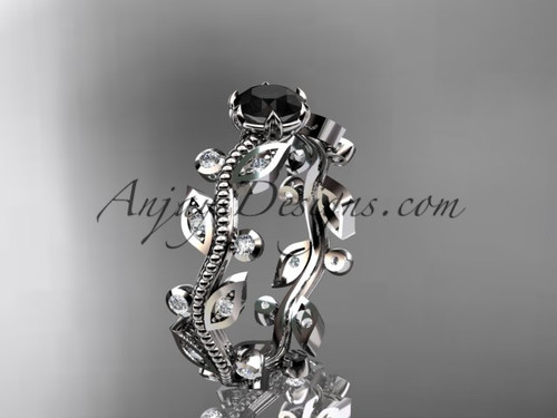 14k white gold diamond floral leaf and vine wedding ring, engagement ring with a Black Diamond center stone ADLR1