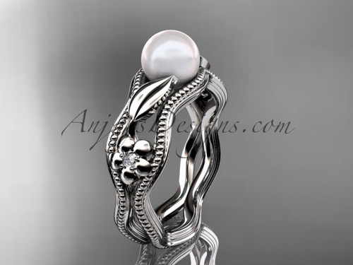 14k White Gold Pearl Leaf and Flower Engagement Ring AP382