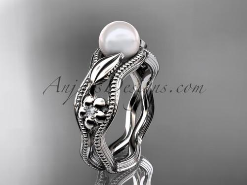 platinum diamond pearl flower, leaf and vine engagement ring AP382