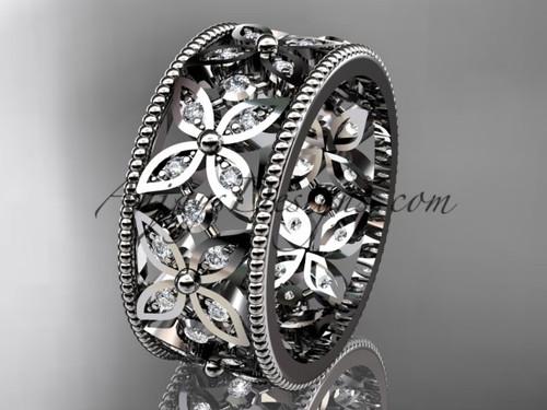 platinum diamond leaf and vine wedding band,engagement ring ADLR10B
