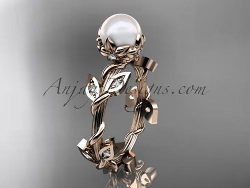 14k rose gold leaf and vine floral pearl wedding ring AP20