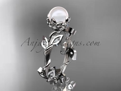 Platinum leaf and vine floral pearl wedding ring AP20