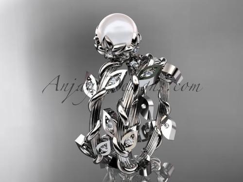 14kt white gold vine & floral pearl engagement set AP20S