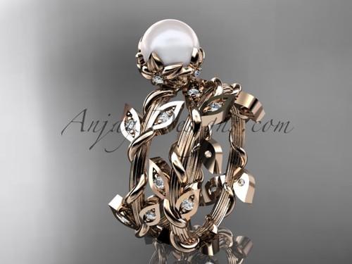 14kt rose gold leaf & vine pearl engagement set AP20S