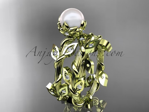 14kt yellow gold floral & vine pearl engagement set AP20S