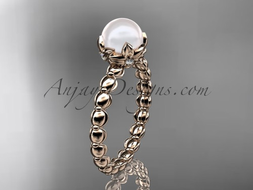 Rose gold floral pearl wedding ring, engagement ring AP34
