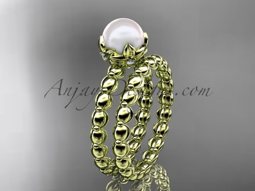14kt yellow gold leaf & floral pearl engagement set AP34S