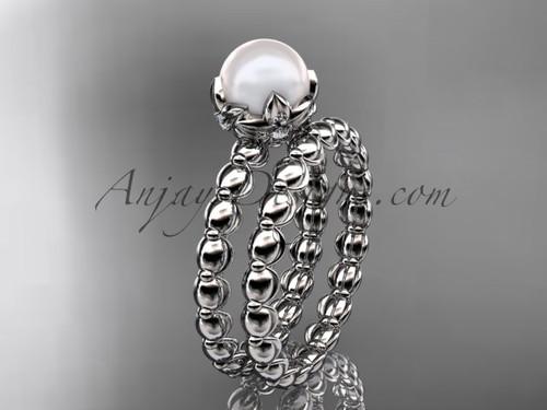 Platinum white gold floral pearl engagement set AP34S