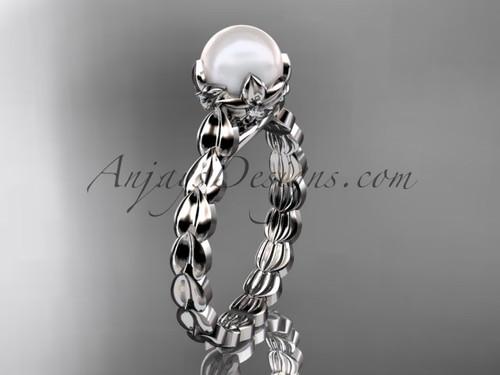 White gold Diamond Flower Round Pearl Engagement Ring AP35