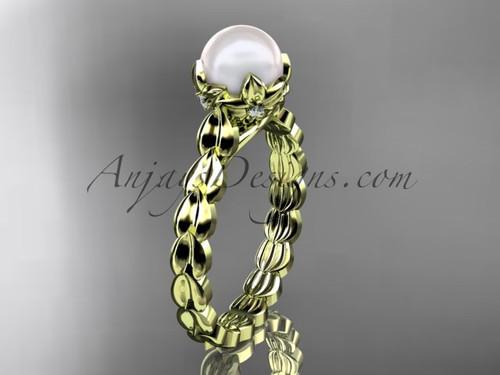 Yellow gold Diamond Flower Round Pearl Engagement Ring AP35