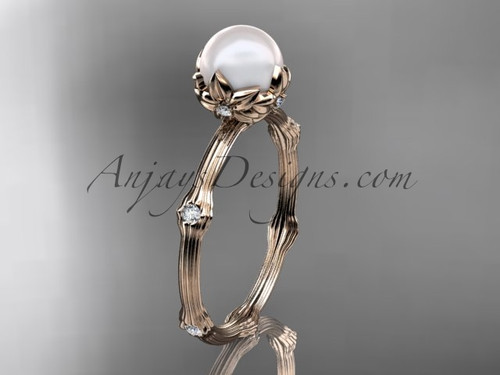 14kt Rose Gold Diamond Pearl Flower Engagement Ring AP38