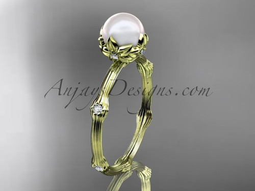 14kt Yellow Gold Diamond Pearl Flower Engagement Ring AP38