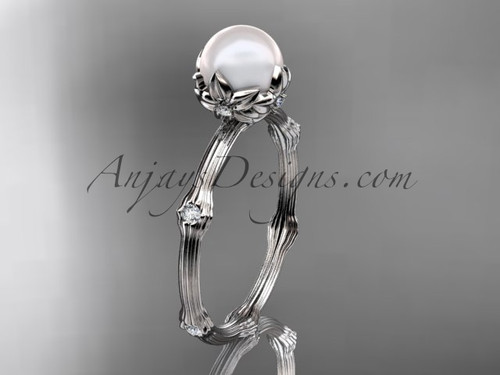 Pearl Engagement Ring Platinum Diamond Flower Ring AP38