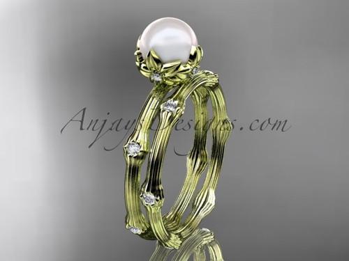 14kt Yellow Gold Diamond Pearl Flower Wedding Set AP38S