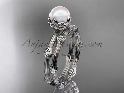 Platinum Diamond Pearl Flower Bridal Set AP38S