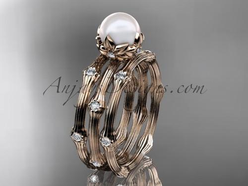 14kt Rose Gold Diamond Pearl Flower Wedding Ring Set AP38S