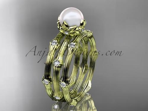 14kt Yellow Gold Diamond Pearl Flower Wedding Ring Set AP38S