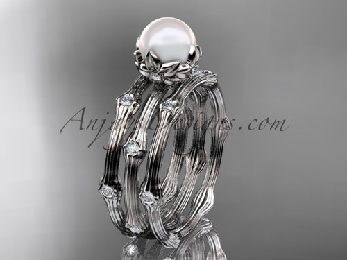 Platinum Diamond Pearl Flower Wedding Ring Set AP38S