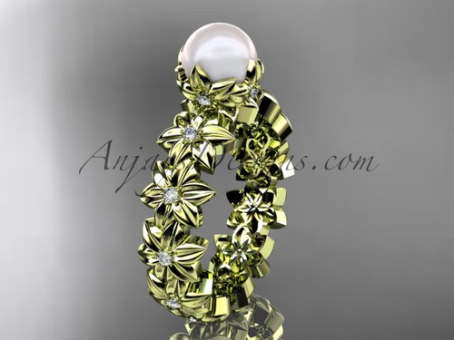 14k yellow gold diamond pearl vine and leaf engagement ring AP57